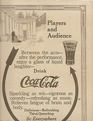 Rare 1911 Coca'cola Theatre Players And Audience Comedy Music Fatigue Of Brain