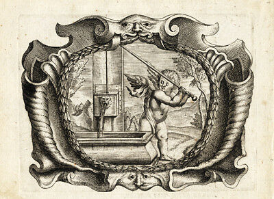 Antique Print-EMBLEM-JESUITS-CHERUB-WATER PUMP-VAST-NO BURDEN-Bolland-Galle-1640