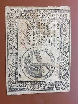 1776 $2 Two Dollar Continental Currency Philadelphia Original Note Bill Dollar