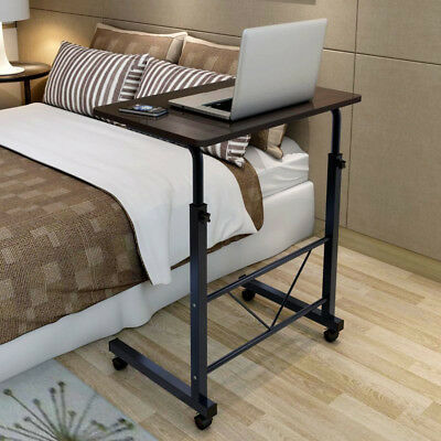 Height Adjustable Portable Bed Side Table Laptop Desk With Wheels Gloss Black