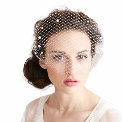 Bridal Birdcage Bridal Veil Ivory Nets With Pearls and Comb V1V4