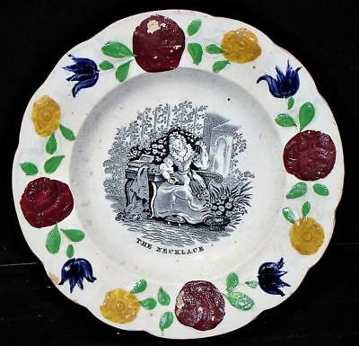 "Antique Prattware Child's Plate, Black Transfer ""THE NECKLACE"" , c. 1840"