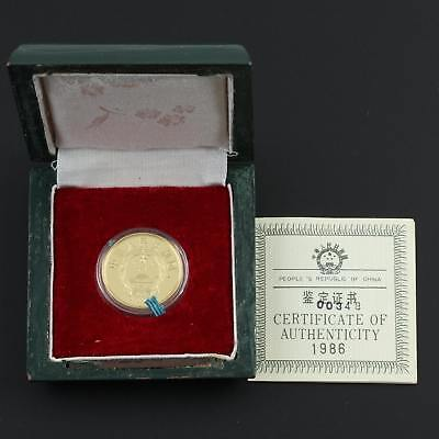 1986 China 100 Yuan International Year of Peace Gold Coin - Mintage: 1,000