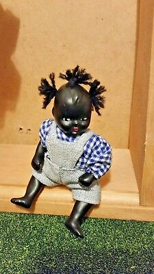 Antique African American bisque baby doll, jointed,3 1/2""