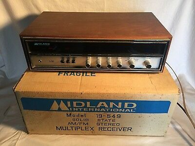 Vintage MIDLAND 19-549 solid state AM/FM Stereo Multiplex Receiver + Box WORKS