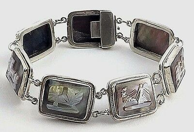 """Antique Art Deco 800 Silver & Mother Of Pearl, 7 Day Story Cameo Bracelet, 7"""""""