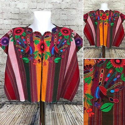 Guatemalan Huipil Mayan Poncho Red Floral Striped Bird Embroidered New A1-12