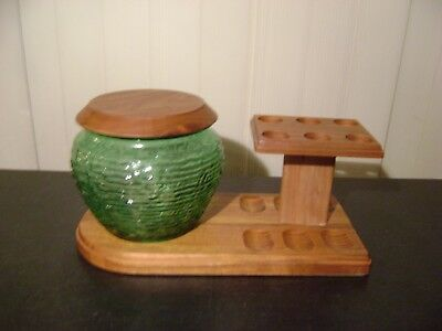 Vintage 6 Pipe Wooden Display Stand & Green Glass Humidor with Aztec Stone