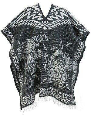 MEXICAN PONCHO Heavy Blanket Material GALLOS BLACK COCK FIGHT Unisex Poncho