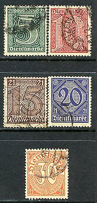 Germany Local Official Stamps Scott OL9-OL13, Used Partial Set!! G1491b