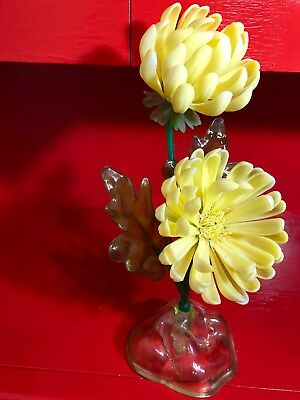 "Vintage Mid Century Resin Lucite Flower Sculpture Yellow Flowers 12"" tall"