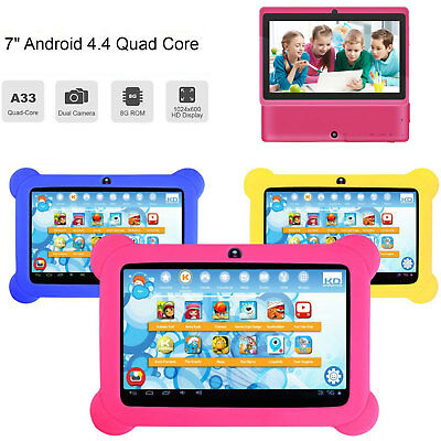 7'' Google Android 4.4 WiFi Tablet PC Quad Core 8GB Dual Camera Kids With Case