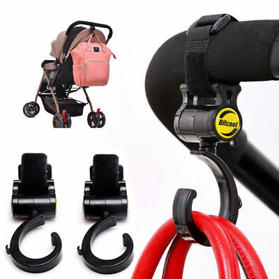 2pc Set for Baby Stroller Hanger Bag Hooks Pram Cart Hook Accessories 360 Rotate