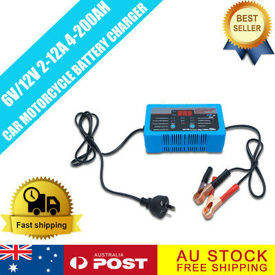 MASO 6V 12V 2/8/12 Amp Smart Battery Charger Car Motorcycle Caravan Camper AGM