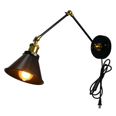 Swing Arm Wall Lamp Adjustable Wall Sconces Plug-in Sconces Wall Lighting Black