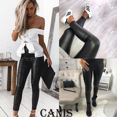 Women PU Leather Pants Ladies Casual High Waist Leggings Stretch Pencil Trousers