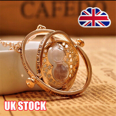 Harry Potter Hermione Granger Gold Tone Hourglass Necklace Pendant Time Turner Y