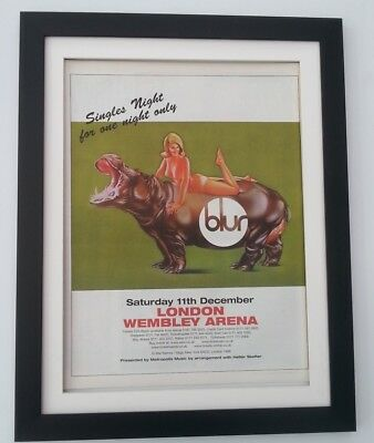 BLUR Wembley Arena 1999*ORIGINAL*POSTER*AD*FRAMED*FAST WORLD SHIP