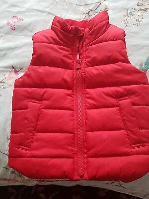 Gap Red Gillet 3 Years Body Warmer Boys Girls Padded Sheerling Lining