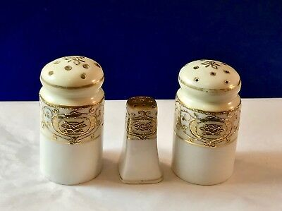 3 - Ornate Gold Overlay - Salt & Pepper Shakers - Gold & White - Probably Nippon