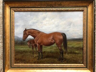 19th CENTURY ANTIQUE VICTORIAN HORSE PORTRAIT - SIGNED and DATED - NO RESERVE