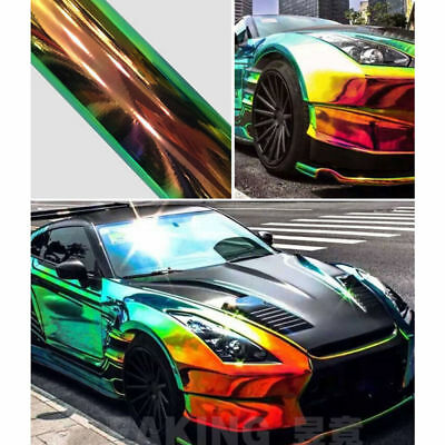Holographic Black Rainbow Chrome Car Vinyl Wrap Sticker Air Bubble Free Release