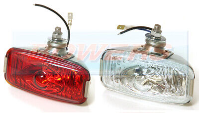 12V Polished Stainless Steel Rear Fog / Reverse Lamps Lights Classic Car Kit Car