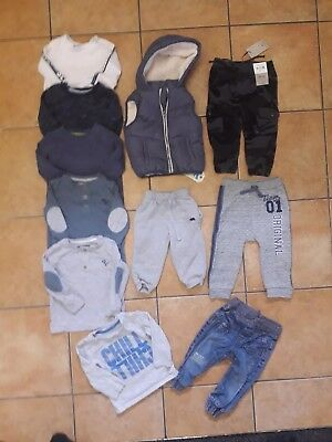 Baby Boys clothes long sleeve tops bottoms gilet Bundle 9-12 Months(Listing B18)