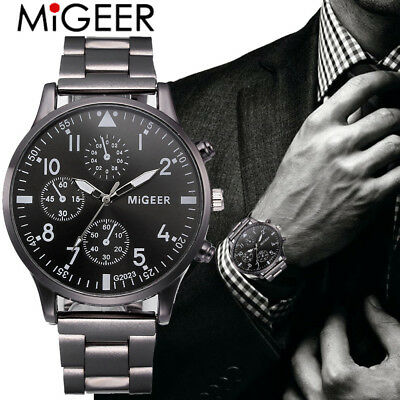 MIGEER Men Fashion Military Stainless Steel Analog Date Sport Quartz Wrist Watch