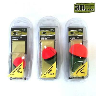 30Plus Slotted Pike Bung Float Pike Salmon Prawn Worm Fishing Choose Size