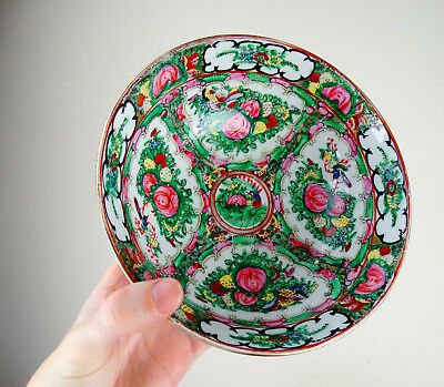 Antique Chinese Export Porcelain Bowl Canton Famille Rose 19th Century Qing
