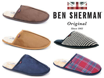 Mens Mule Slippers Ben Sherman Soft Warm Padded Faux Fur Lined Outdoor Sole