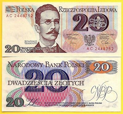 Poland P-149 20 Zlotych Year 1982 Uncirculated Banknote Europe