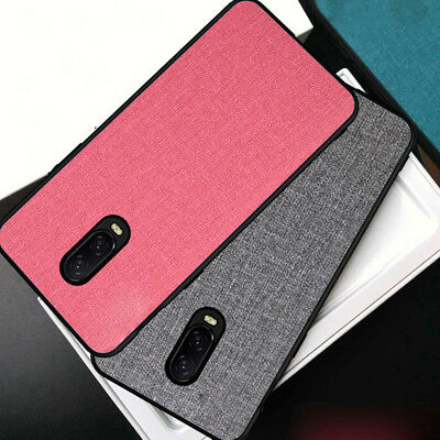 For OnePlus 6T case Back Cover Fabric Vintage Cloth TPU Protective Business