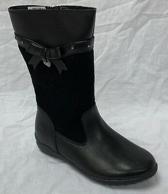 BNIB Clarks Girls Ting Chic Black Leather / Suede Boots E/F/G/H Fitting