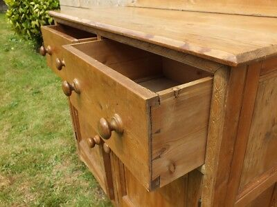 Large Old Victorian Rustic Pine Housekeepers Kitchen Pantry Cupboard Dresser