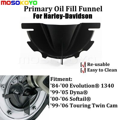 Black Primary Case Oil Fill Funnel For Harley Dyna Softail Road Electra Glide