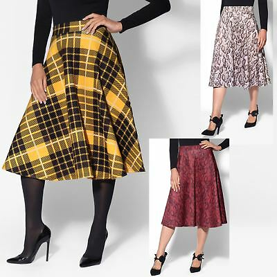 Women A Line Skirt Ladies High Waist Pleated Flared Swing Full Midi Casual Party