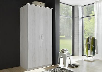 German Driftwood White Oak 2 Door 90cm Wardrobe Shabby Chic