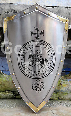 Sca Medieval Knights Shield Metal Handcrafted Spartan Heater Shield X-Mas/gift