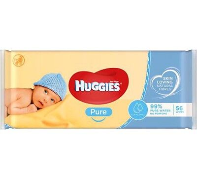 56 Count Huggies Baby Wipes Pure Unscented Gentle Fragrance Free, 99% Pure Water