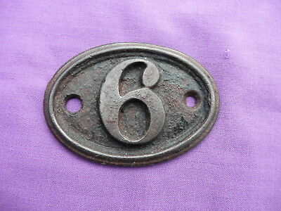 "Vintage, Number ""6"", Oval, Cast Iron Number Plate By ""a. Kenrick & Sons"""
