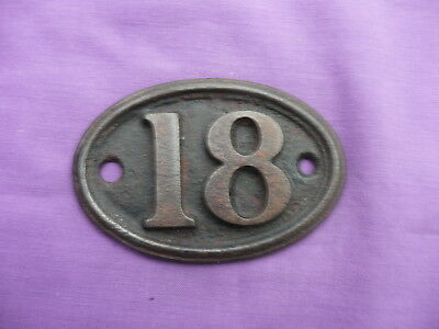 "Vintage, Number ""18"", Oval, Cast Iron Number Plate By ""a. Kenrick & Sons"""