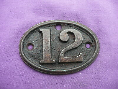 """Vintage, Number """"12"""", Oval, Cast Iron Number Plate By """"a. Kenrick & Sons"""""""