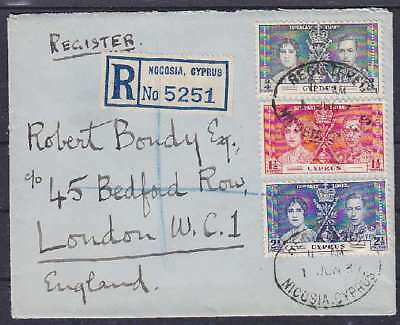 Zypern Mi Nr. 133, 134, 135 MiF Ausland R- Brief, Nocosia - London 1937