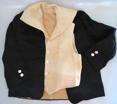 Antique Victorian Boy Doll / Childs Black Silk Jacket Coat & Vest, Shell Buttons