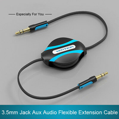 35mm Jack Male To Male Flexible Retractable Stereo Aux Audio Cable Cord SH