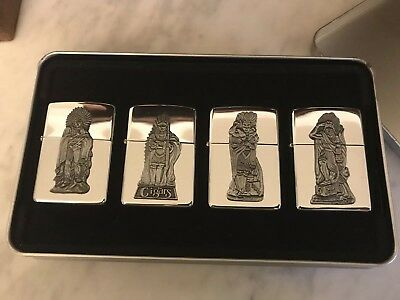 Zippo Native American Indian Cigars Set Of 4 Lighters Collectible Rare Unused