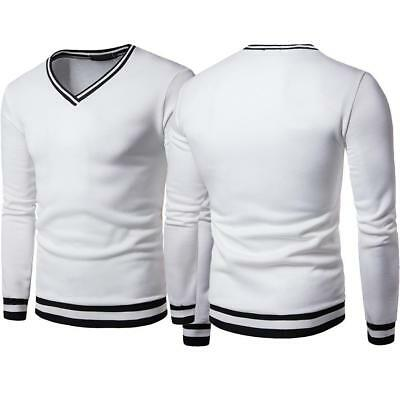 Mens Slim Fit Shirt Pullover Long Sleeve V Neck Knitwear Cardigan Sweater Tops S