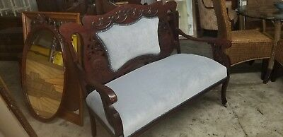 Antique Newly Refinished And Reupholstered Settee Couch Bench